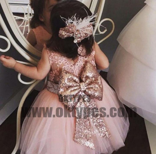 568dc2fe2 Pink Lace Tulle Bowknot Applique Flower Girl Dresses