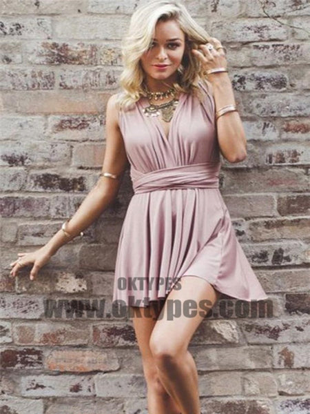 Simple V Neck Dusty Pink Short Homecoming Dresses Under 100, TYP0616