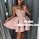 A-Line Spaghetti Straps Tiered Pink Satin Homecoming Dress with Sequins, TYP0921