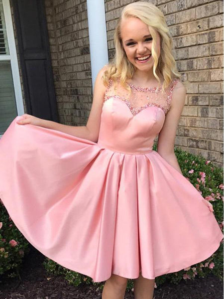 Pink Illusion Cute Pink Short Cheap Homecoming Dresses Online, CM562