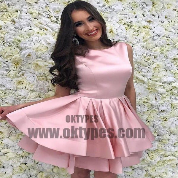 Pink Bateau Simple Cheap Homecoming Dresses 2018, Homecoming Dresses, TYP0514