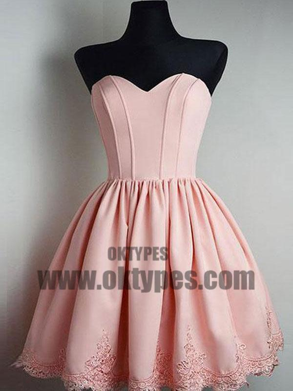 Cheap Short Simple Cute Sweetheart Pink Homecoming Dresses 2018, TYP0658