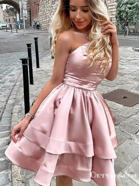 Princess A Line One Shoulder Pink Short Homecoming Dresses, TYP2026