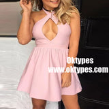 A-Line Halter Short Pink Satin Homecoming Party Dress with Keyhole, TYP0942