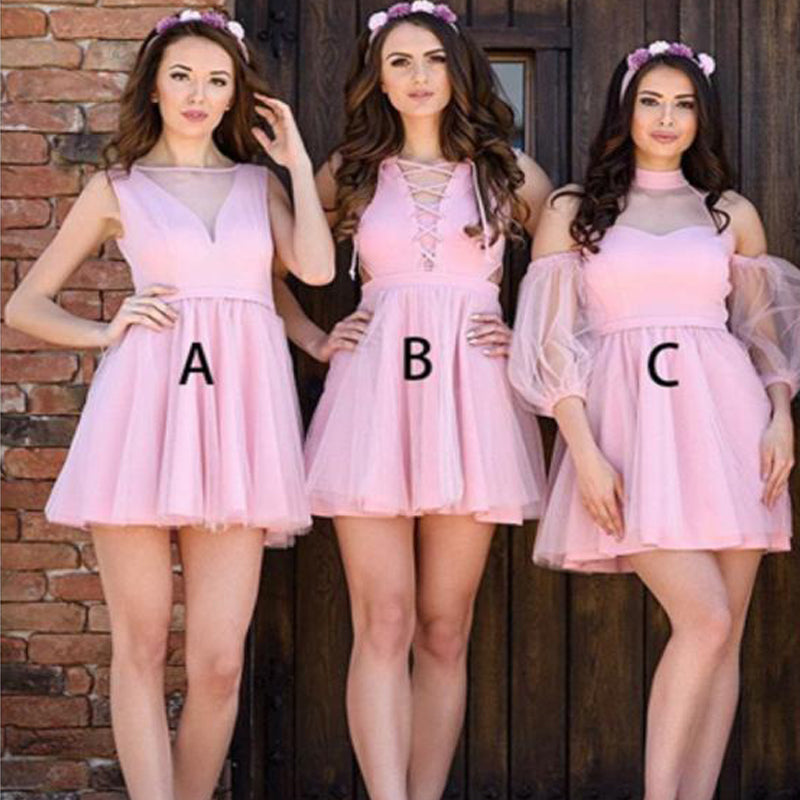 New Arrival A-line Pink tulle Sleeveless short Sexy Bridesmaid Dresses Online, TYP1096