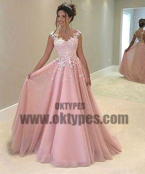 Pink Top Lace Appliques Spaghetti Strap Backless Tulle Prom Dresses, TYP0675