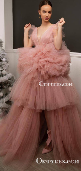 Ball Gown Newest Hot Selling Sexy V-neck Sleeveless Pink Tulle Long Cheap Prom Dresses, PDS0002