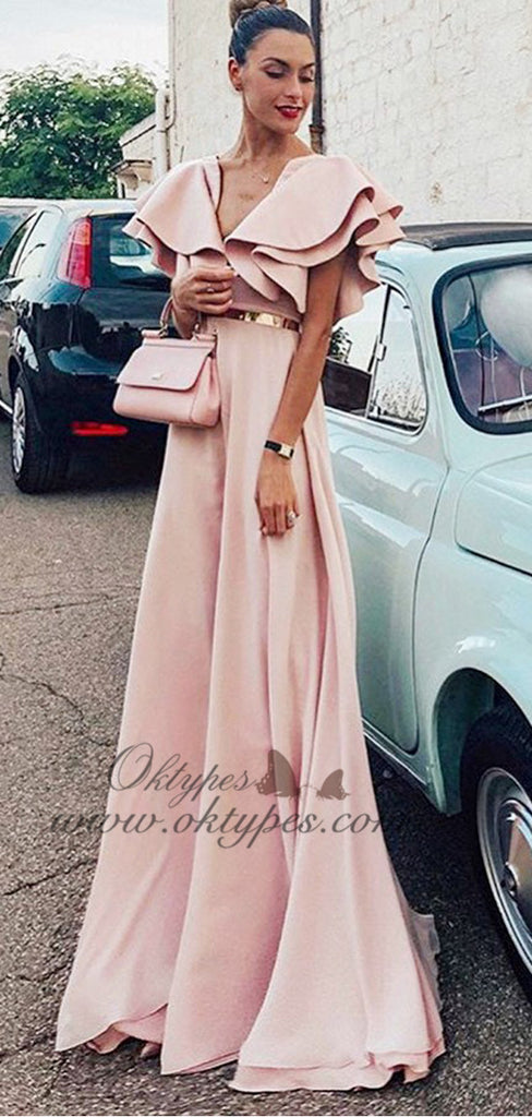 2019 Unique A-Line V-Neck Pink  Long Evening Prom Dresses with Ruffles, TYP1510