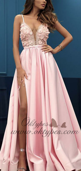 2019 Charming Pink V-neck Sleeveless Split Prom Party Dresses with Appliques, TYP1501