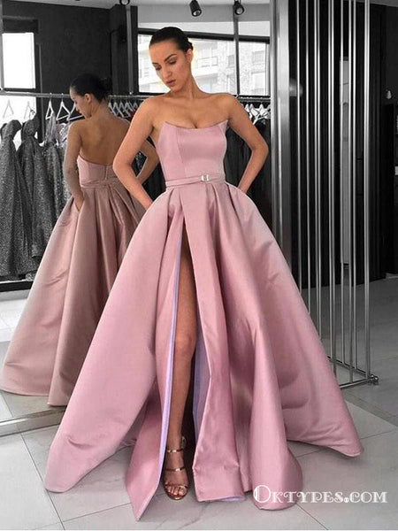 Ball Gown Strapless Split Pink Satin Long Prom Dresses with Pockets ... 86148897e