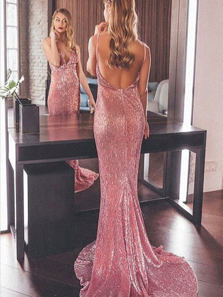 Mermaid Spaghetti Straps Backless Pink Sequined Prom Dresses Online, TYP1300