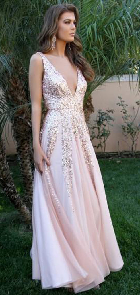 A-Line Deep V-Neck Long Cheap Pink Tulle Backless Prom Dresses with Sequins, TYP1353