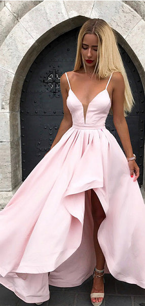 2019 Chic Spaghetti Straps Split V-neck Pink Formal Prom Party Dresses, TYP1494