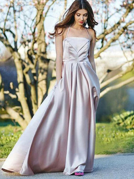 2329bb50400 Simple Sexy Pink Halter Long Satin Prom Dresses with Pockets ...