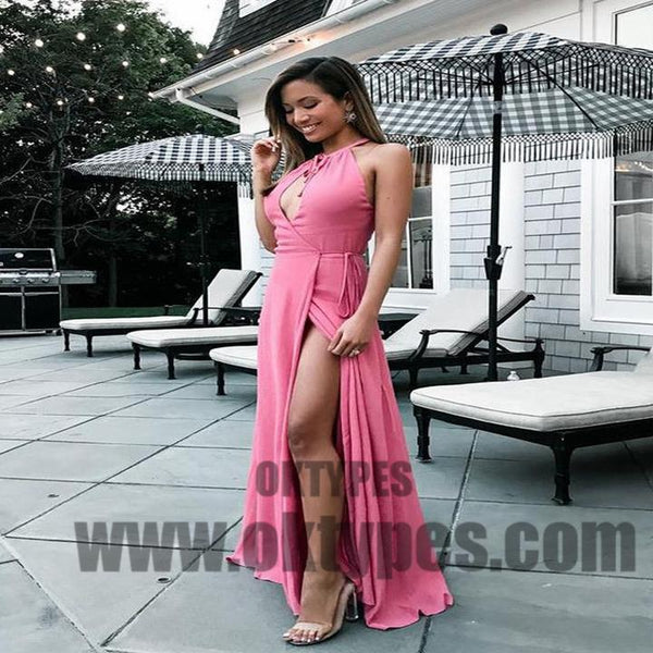 Pink Open Chest Side Split Chiffon Satin Long Floor Length Prom Dresses, TYP0577