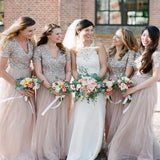 Long Cheap Plus Size Bridesmaid Dress Sparkly Short Sleeve Bridesmaid Dresses, TYP1208