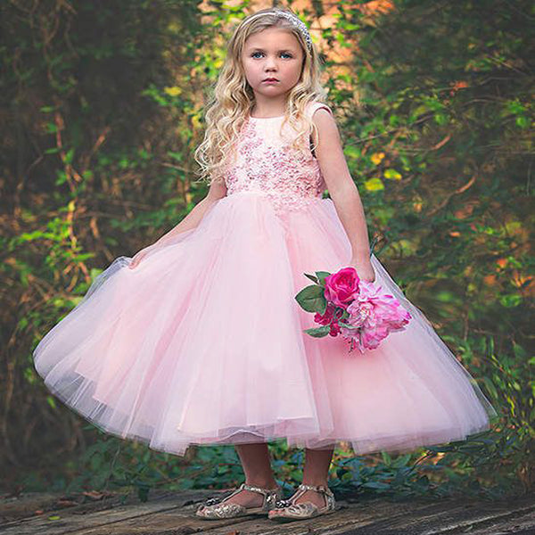 5458e27c63 Round Neck Pink Tulle Flower Girl Dresses with Appliques Beading ...