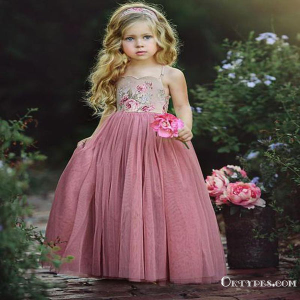 a63f3be8b Spaghetti Strap Long Dusty Rose Floral Flower Girl Dresses, TYP1218 ...