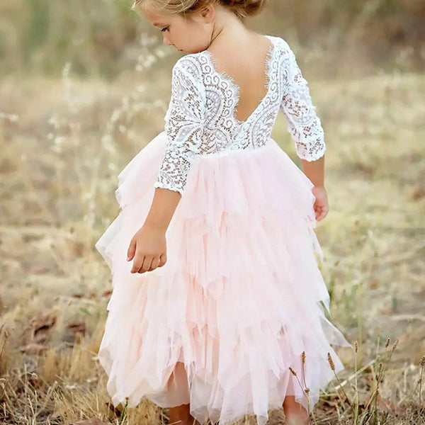 eb35fdcaf3929e A-Line Scoop Tea-Length 3 4 Sleeves Pink Flower Girl Dresses with ...