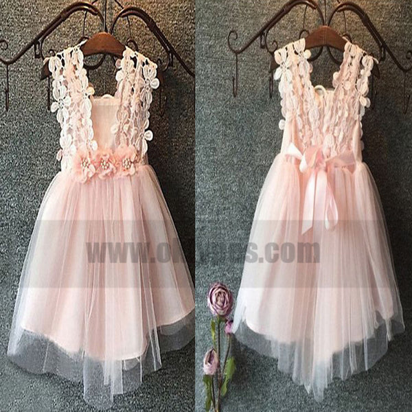 27f68b0d54f A-Line Square Short Pink Tulle Flower Girl Dress with Lace Flowers ...
