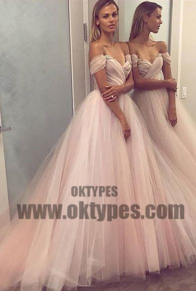 Long Light Pink Off-shoulder Ball Gown Prom Dresses With Little Beaded, TYP0581