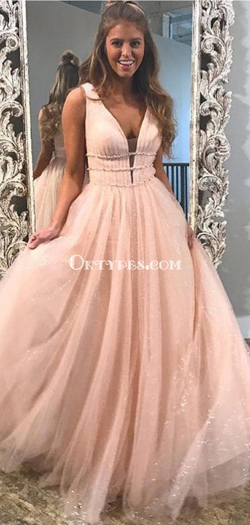 Blush Pink V Neck Straps A-line Sparkly Tulle Long Evening Prom Dresses, PDS0102