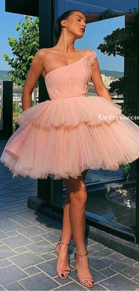 Charming One Shoulder Pink Tulle A-line Cheap Short Homecoming Dresses, HDS0007