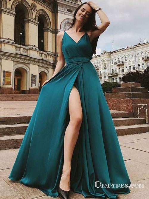 A-Line Spaghetti Straps Sleeveless Green Floor Length Prom Dresses, TYP1867