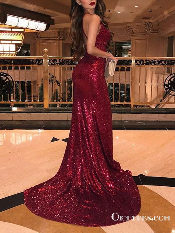 Burgundy Halter Sleeveless V-neck Long Mermaid With Ruffles Sequins Prom Dresses, TYP1692