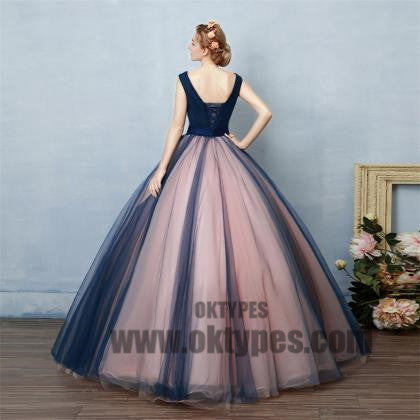 Long Floor Length Tulle Prom Dresses, Appliques Prom Dresses, With Little Beading, Ball Gown V-neck Prom Dresses, TYP0221