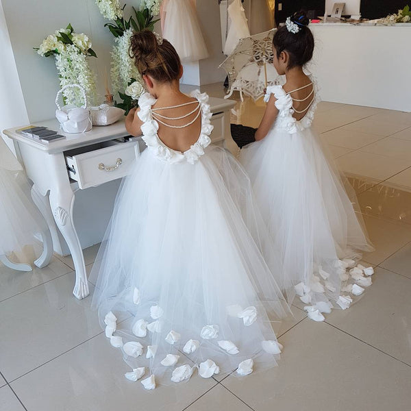 Backless Puffy Tulle Flower Girls Dresses with 3D Floral Appliques, TYP1379