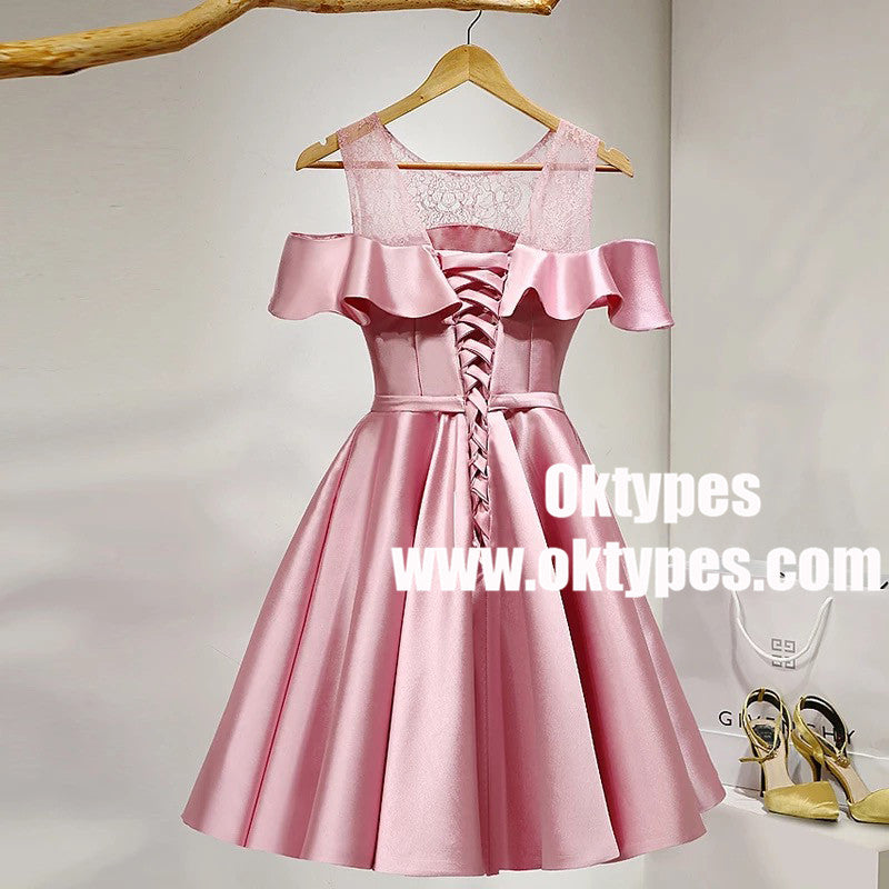 Pink Off Shoulder Satin Girls Cocktail Homecoming Dresses, TYP0962