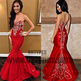 Red Long Mermaid Prom Dresses, Sweetheart Prom Dresses, Beading Prom Dresses, Appliques Prom Dresses, TYP0289