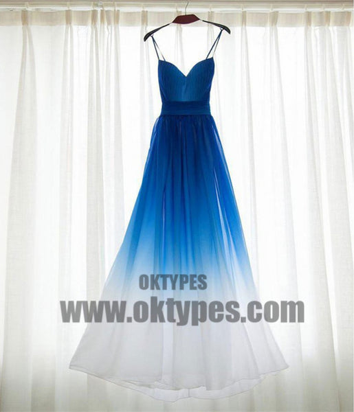 A line Bridesmaid Dresses, Royal Blue Prom Dresses, Long Bridesmaid Dresses With Pleated Sleeveless Straps, TYP0451