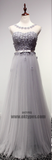 Appliques Beading Tulle Long Floor Length Prom Dresses, Scoop Backless Prom Dresses, TYP0358