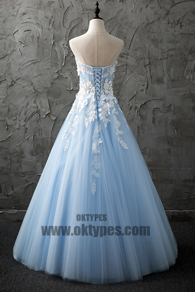 Ball Gown Sweetheart Appliques Prom Dresses With Little Beading, Lace Up Backless Prom Dresses, TYP0473