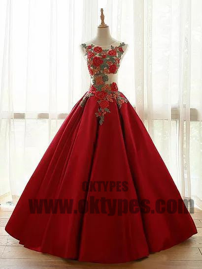A-line Long Prom Dresses, Red Appliques Prom Dresses, Jewel Prom Dresses, Lace Up Prom Dresses, TYP0226
