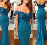Long Mermaid Prom Dresses, Off-shoulder Prom Dresses With Little Lace, Backless Prom Dresses, TYP0229