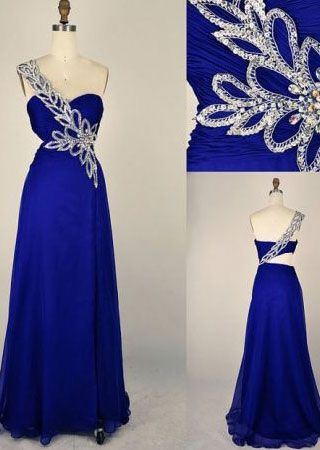 Royal Blue Long Prom Dresses, Appliques Prom Dresses With Little Beading, One-shoulder Prom Dresses, TYP0230