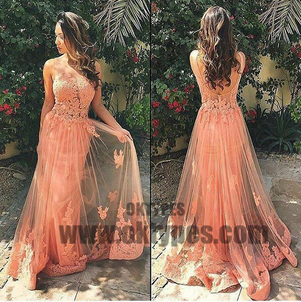 Long Mermaid Prom Dresses, Illusion Prom Dresses, Appliques Prom Dresses, Open-back Prom Dresses, TYP0235