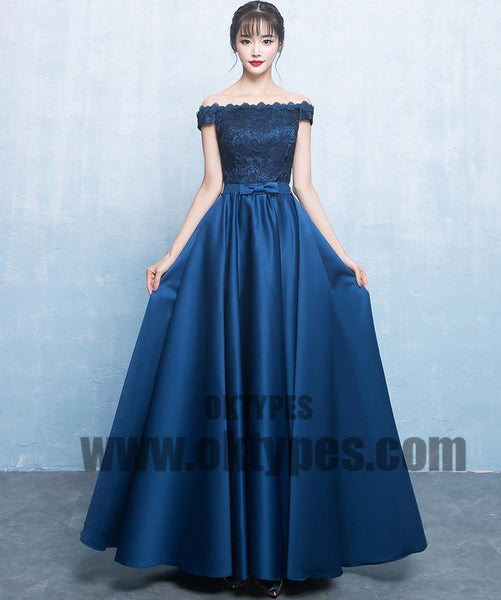 Royal Blue Long Prom Dresses, Lace Prom Dresses, Off-shoulder Prom Dresses, Lace Up Prom Dresses, TYP0231