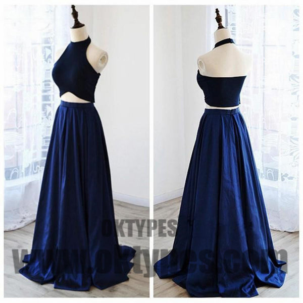 Two Piece Long Floor Length Prom Dresses, A-line Prom Dresses, Charming Evening Dresses, Halter Prom Dresses, TYP0254
