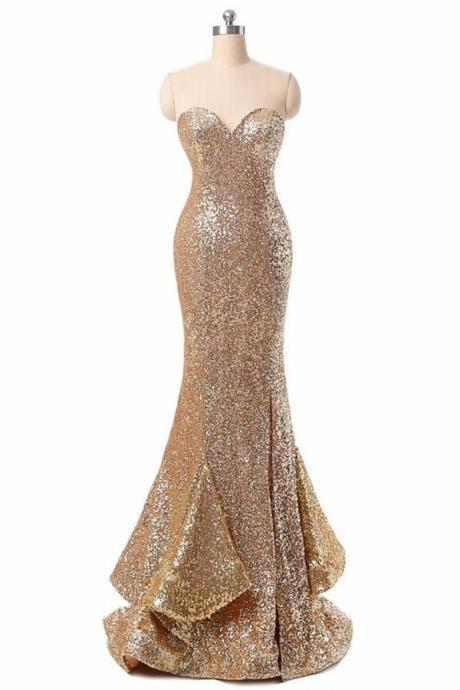 Golden Sequin Prom dresses, Long Mermaid Prom Dresses, Sweetheart Prom Dresses, Zipper Prom Dresses, Ruffles Prom Dresses, TYP0204