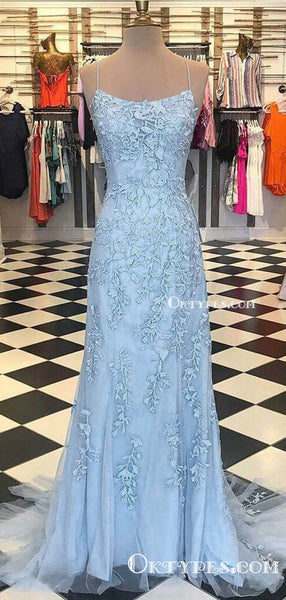 Spaghetti Strap Sky Blue Mermaid Prom Dresses Backless Pageant Formal Dresses, TYP1226