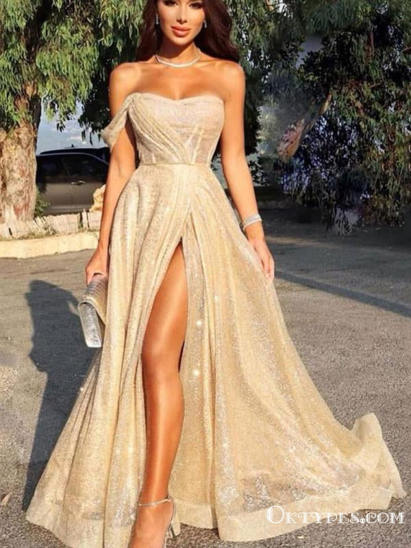 Sparkly Sweetheart One Shoulder Sleeveless A-line Long Cheap Sequin Formal Evening Prom Dresses, TYP2094