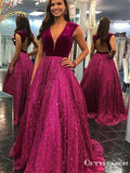 Newest V-neck Sleeveless Ball Gown Open Back Sequin Long Cheap Evening Formal Prom Dresses, PDS0004