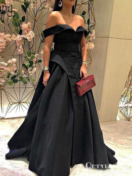Off-The-Shoulder Charming Newest Black Satin A-line Long Cheap Evening Party Prom Dresses, PDS0025