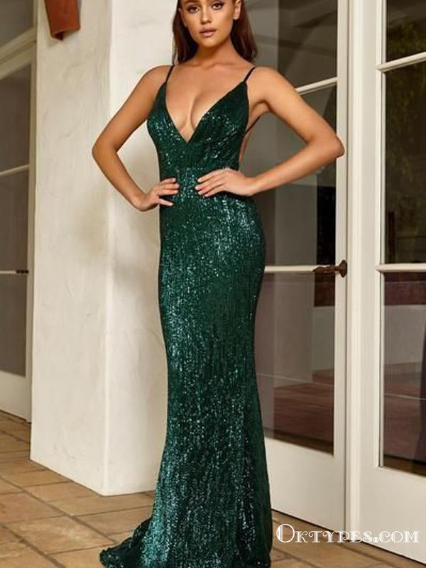 Spaghetti Strap Sleeveless Green Sequin Long Cheap Charming Formal Evening Prom Dresses, TYP2097
