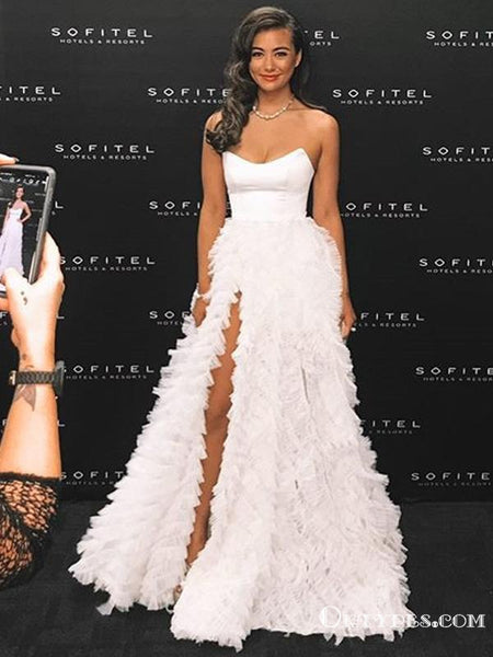 Sweetheart Elegant Sleeveless White Tulle High Side Slit A-line Long Cheap Evening Prom Dresses, PDS0007