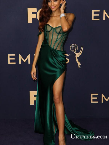 Elegant Newest Sweetheart Sleeveless Green Satin Side Slit Mermaid Long Cheap Prom Dresses, PDS0017
